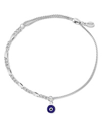 Alex And Ani Precious Metals Evil Eye Figaro Pull Chain Bracelet Sterling Silver