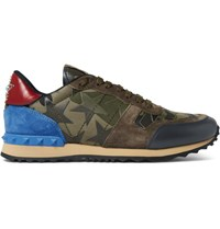 Valentino Rockrunner Camouflage Print Canvas Leather And Suede Sneakers Green