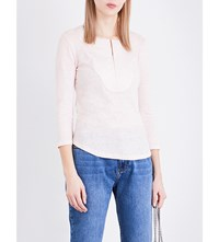 Claudie Pierlot Tahina Linen And Jersey Top Rose Pale