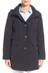 Women's Ellen Tracy A Line Sailcloth Coat With Detachable Hood Black