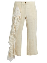 By Walid 19Th Century Lace Panel Linen Cropped Trousers Nude