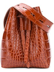 Nanushka Minee Croc Effect Belt Bag Brown