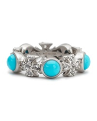Elizabeth Showers Turquoise Sapphire Maltese Eternity Ring White