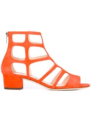 Jimmy Choo Ren Sandals Women Leather Suede 38 Yellow Orange