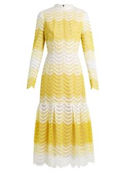 Erdem Hari Degrade Guipure Lace Dress Yellow White