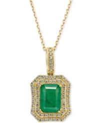 Macy's Emerald 1 1 2 Ct. T.W. And White Sapphire 1 Ct. T.W. Rectangular Pendant Necklace In 14K Gold Green