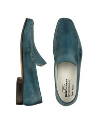 Pakerson Petrol Blue Italian Handmade Leather Loafer Shoes Blue Green