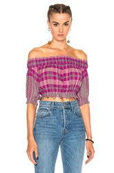 Apiece Apart Oeste Off The Shoulder Top In Purple Checkered And Plaid Purple Checkered And Plaid