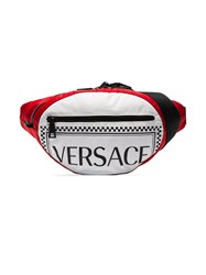 Versace Red And White Logo Cross Body Bag