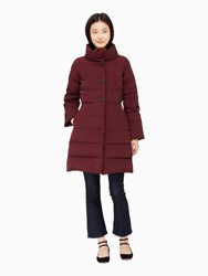 Kate Spade Jewel Button Puffer Coat Midnight Wine