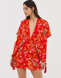 Millie Mackintosh Floral Print Kimono Dress With Tassels Red