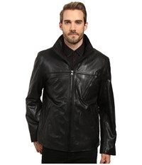Marc New York Plymouth Lightweight Calf Skin Jacket With Stand Collar And Diagonal Moto Zippers Black Men's Coat