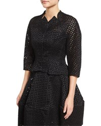 Zac Posen 3 4 Sleeve Duchess Eyelet Jacket Black