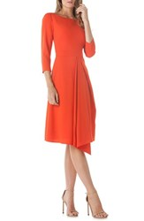 Kay Unger Asymmetrical Pleat V Back Dress Coral