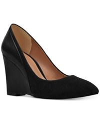 Nine West Daday Wedge Pumps Black Leather