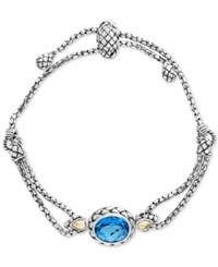 Effy Balissima By Blue Topaz Slider Bracelet 5 3 4 Ct. T.W. In Sterling Silver And 18K Gold