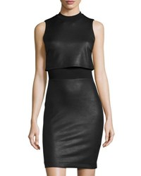 French Connection Faux Leather Sleeveless Popover Dress Black
