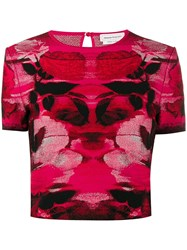 Alexander Mcqueen Intarsia Knitted Top Red