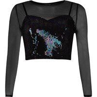 River Island Womens Petite Black Mesh Sequin Crop Top