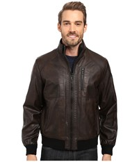 Calvin Klein Faux Leather Bomber Heritage Brown Men's Coat