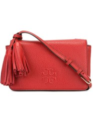 Tory Burch Embossed Logo Shoulder Bag Red