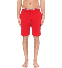 Moschino Branded Stretch Cotton Shorts Red