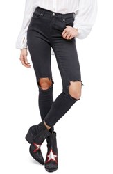 Free People Women's High Rise Busted Knee Skinny Jeans Carbon