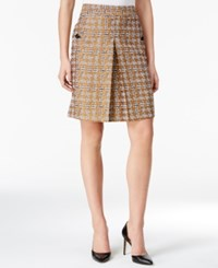 Nine West Pleated Metallic Houndstooth Skirt Brandy Multi