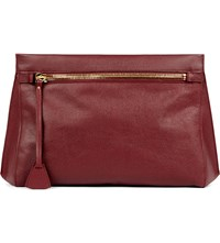 Mon Purse Rendezvous Oversized Leather Clutch Burgundy