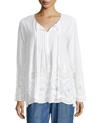 Chelsea And Theodore Eyelet Trim Long Sleeve Tunic White
