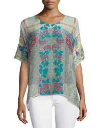 Johnny Was Engina Printed Short Sleeve Boxy Top Multi