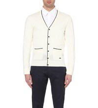 Burberry V Neck Wool And Silk Blend Cardigan White