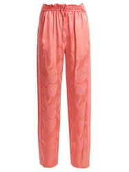 Peter Pilotto High Rise Floral Jacquard Satin Trousers Pink Print