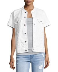 7 For All Mankind Short Sleeve Raw Edge Denim Jacket White