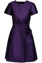 Raoul Bice Bow Ruffled Silk Blend Twill Mini Dress Dark Purple
