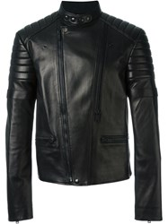 Alexander Mcqueen Band Collar Biker Jacket Black