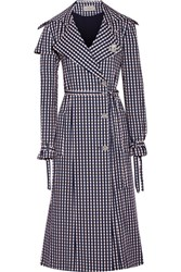 Preen By Thornton Bregazzi Jette Crystal Embellished Gingham Twill Trench Coat Navy