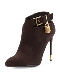 Tom Ford Suede Ankle Strap Bootie Dark Brown