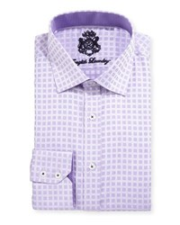 English Laundry Square Print Cotton Dress Shirt Purple