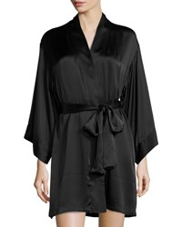 Josie Natori Key Silk Wrap Robe Black