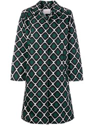 La Doublej Printed Pattern Coat Nylon Green