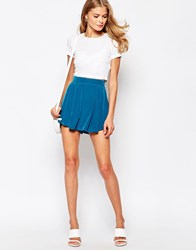 Love Shorts With Pleat Front Blue