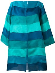 Gianluca Capannolo Striped Oversized Coat Women Silk 44 Blue