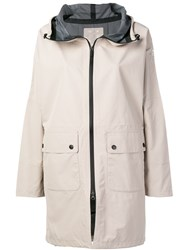 Ecoalf Hooded Zipped Parka Coat Nude And Neutrals