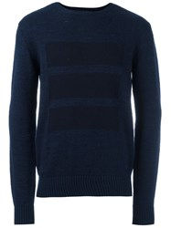 Oliver Spencer Tonal Block Print Sweater Blue