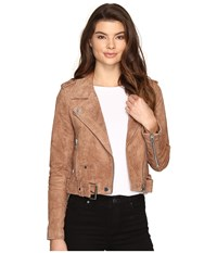 Blank Nyc Camel Suede Moto Jacket In Coffee Bean Camel Beige Women's Coat Brown