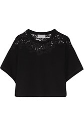 3.1 Phillip Lim Paneled Corded Lace And Cotton Terry Top Black