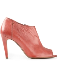 Raparo Peep Toe Ankle Boots Red