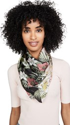 Rebecca Minkoff Tropical Splice Square Scarf Black