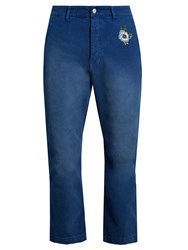 Gucci Embroidered Stretch Denim Cropped Trousers Blue
